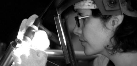 Stef welding intently - photo - Skunk