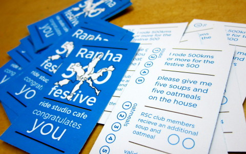 Rapha Festive 500 Food punch cards 2013