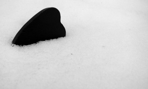 Snowman's heart on the ground