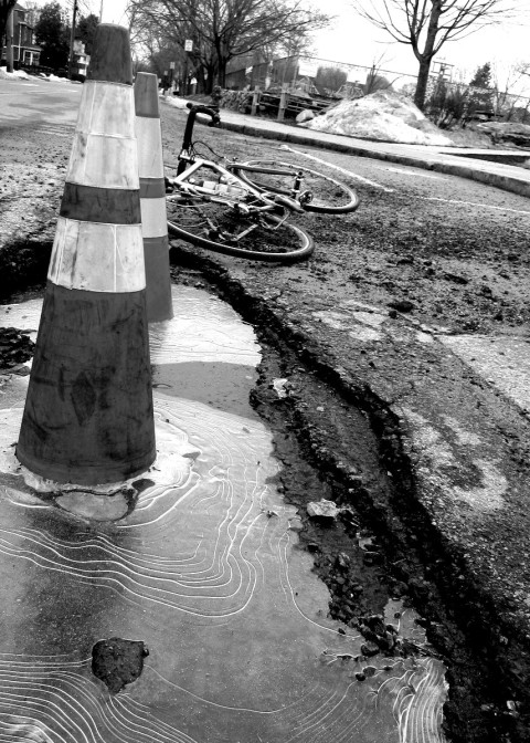 Summing up a New England Festive 500 - ice, rough roads, and traffic cones - photo - Rob Vandermark